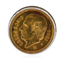 1955-M Mexico 5 Cinco Pesos Gold Coin