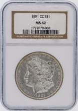 1891-CC NGC Graded MS62 $1 Carson City Morgan Silver Dollar Coin