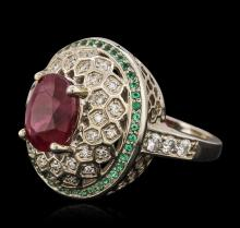 14KT White Gold 4.02 ctw Ruby, Emerald and Diamond Ring