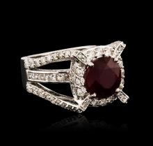 14KT White Gold 5.85 ctw Ruby and Diamond Ring