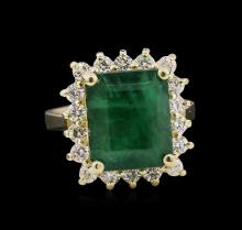 5.36 ctw Emerald and Diamond Ring - 14KT Yellow Gold