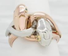 Tiffany & Co. 0.02 ctw Diamond Snake Ring - Rose Gold and Platinum