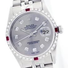 Rolex Stainless Steel Diamond and Ruby DateJust Men's Watch