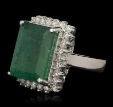 14.32 ctw Emerald and Diamond Ring - 14KT White Gold