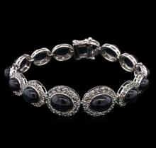 35.86 ctw Sapphire and Diamond Bracelet - 14KT White Gold