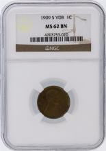 1909-S VDB Penny Lincoln Wheat Cent NGC Graded MS62 BN