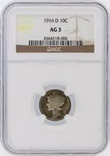 1916-D NGC AG3 Mercury Dime