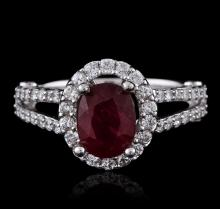 14KT White Gold 1.39 ctw Ruby and Diamond Ring