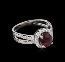 GIA Certified 1.48 ctw Ruby and Diamond Ring - 18KT White Gold