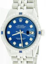 Rolex Stainless Steel Sapphire and Diamond DateJust Men's Watch