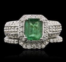 14KT White Gold 1.20ctw Emerald and Diamond Wedding Set