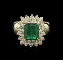 3.21ctw Emerald and Diamond Ring - 14KT Yellow Gold