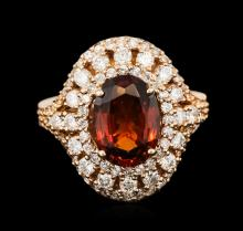 18KT Rose Gold 3.31ctw Garnet and Diamond Ring