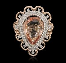 14KT Two-Tone Gold 3.84ctw Morganite and Diamond Ring