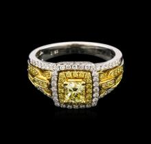 1.27ctw Fancy Yellow Diamond Ring - 18KT Two-Tone Gold