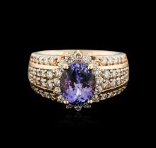 14KT Rose Gold 2.33ctw Tanzanite and Diamond Ring