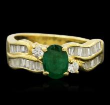 18KT Yellow Gold 0.55ctw Emerald and Diamond Ring