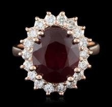 14KT Rose Gold 7.94ctw Ruby and Diamond Ring