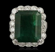 14KT White Gold 11.74ctw Emerald and Diamond Ring