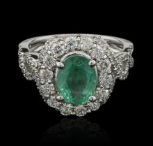 2.18ctw Emerald and Diamond Ring - 14KT White Gold