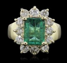 14KT Yellow Gold 1.95ctw Emerald and Diamond Ring