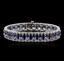 14KT White Gold 22.50ctw Tanzanite and Diamond Bracelet