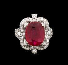 4.65ctw Ruby and Diamond Ring - 14KT White Gold