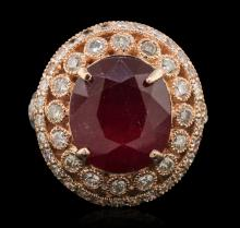 14KT Rose Gold 5.47ctw Ruby and Diamond Ring