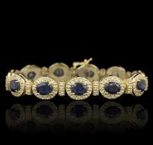 14KT Yellow Gold 17.82ctw Sapphire and Diamond Bracelet