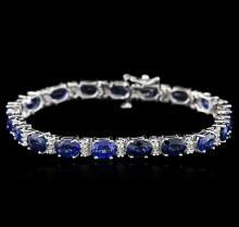 14KT White Gold 17.15ctw Sapphire and Diamond Bracelet