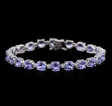13.00ctw Tanzanite and Diamond Bracelet - 14KT White Gold
