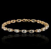 10KT Yellow Gold 5.00ctw Aquamarine Bracelet