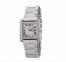 Cartier 18KT White Gold 1.56 ctw Diamond Tank Franciase Men's Watch