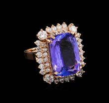 12.73 ctw Tanzanite and Diamond Ring - 14KT Rose Gold