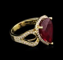 8.45 ctw Ruby and Diamond Ring - 14KT Yellow Gold