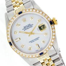 Rolex Two-Tone Diamond and Sapphire DateJust Men's Watch