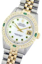 Rolex Two-Tone 1.00 ctw Diamond and Emerald DateJust Men's Watch