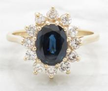 1.49 ctw Sapphire and Diamond Ring - 14KT Yellow Gold