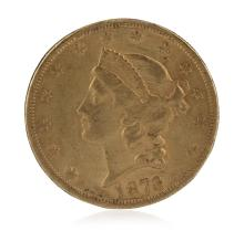 1873 Open 3 AU $20 Double Eagle Liberty Head Gold Coin