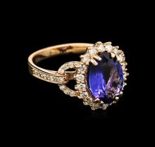 2.92 ctw Tanzanite and Diamond Ring - 14KT Rose Gold