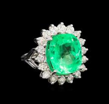 GIA Cert 11.60 ctw Emerald and Diamond Ring - 14KT White Gold