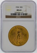 1924 NGC MS63 $20 St. Gaudens Double Eagle Gold Coin