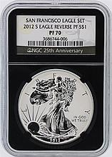 2012-S NGC Graded PF70 $1 American Silver Eagle Reverse Silver Coin