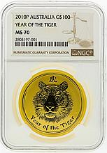 2010-P NGC MS70 Australia $100 Year of the Tiger Gold Coin