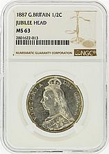 1887 NGC MS63 Great Britain 1/2 Crown Jubilee Coin