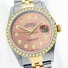 Rolex Two-Tone 1.00 ctw Diamond DateJust Men's Watch