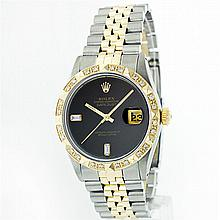 Rolex 14KT Two-Tone Onyx And Diamond DateJust Men's Watch
