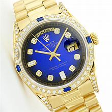 Rolex President 18KT Gold 1.00 ctw Diamond And Sapphire Men's Watch