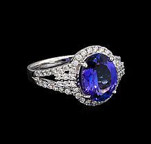 3.71 ctw Tanzanite and Diamond Ring - Platinum