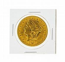 1905-S $20 Liberty Head Double Eagle Gold Coin